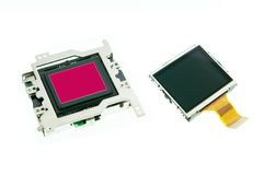 CMOS sensor and LCD screen digital camera Royalty Free Stock Photography