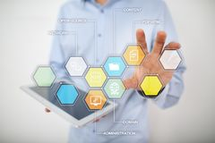 CMS Содержимые значки применений системы управления на виртуальном экране Дело, интернет и концепция технологии стоковое фото
