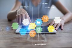 CMS Содержимые значки применений системы управления на виртуальном экране Дело, интернет и концепция технологии стоковые изображения rf
