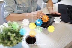 CMS Содержимые значки применений системы управления на виртуальном экране Дело, интернет и концепция технологии стоковое изображение rf