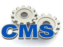 CMS. Or content management system concept,  text over metal gears over white background Royalty Free Stock Photography