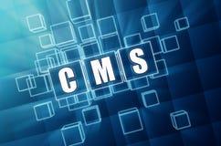 CMS in blauwe glaskubussen - Internet-concept Royalty-vrije Stock Foto