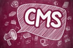 CMS - Cartoon Illustration on Red Chalkboard. Royalty Free Stock Photos