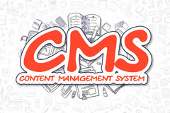 CMS - Cartoon Red Text. Business Concept. Royalty Free Stock Photo