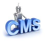 CMS: conceito satisfeito do sistema de gestão Foto de Stock