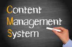 CMS - Content Management System. Female hand with chalk writing text royalty free stock photos