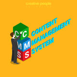 CMS content management system letters flat 3d isometric vector Stock Photography