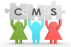 CMS - Content Management System puzzle in a line Royalty Free Stock Photos