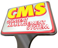 Cms-Content Management-System-Werbeschild-Website-Plattform Stockfotografie
