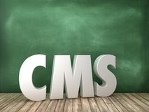 CMS 3D Word on Chalkboard Background. High Quality 3D Rendering royalty free illustration