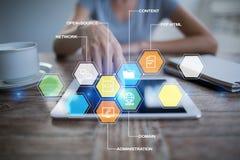 CMS De pictogrammen van het systeemtoepassingen van het inhoudsbeheer op het virtuele scherm Zaken, Internet en technologieconcep royalty-vrije stock afbeelding