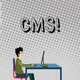 CMS des textes d'écriture Concept signifiant la modification d'assistances techniques de gestion de contenu de l'homme d'affaires illustration de vecteur