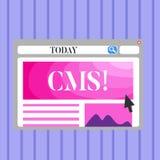 CMS des textes d'écriture de Word Concept d'affaires pour la modification d'assistances techniques de gestion de contenu du blanc illustration stock
