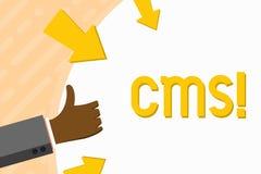 CMS des textes d'écriture de Word Concept d'affaires pour la modification d'assistances techniques de gestion de contenu de la ma illustration stock
