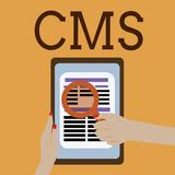 CMS des textes d'écriture de Word Concept d'affaires pour Manages la création et la réforme de l'application logiciel du contenu  illustration libre de droits