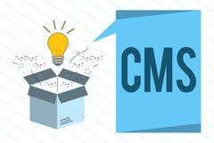 CMS des textes d'écriture de Word Concept d'affaires pour Manages la création et la réforme de l'application logiciel du contenu  illustration de vecteur