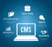 CMS design over blue background vector illustration Royalty Free Stock Photo