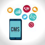 CMS design over white background vector illustration Royalty Free Stock Photo