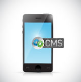 Cms message on smart phone illustration Stock Photos