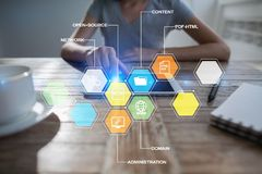CMS Nöjda symboler för ledningsystemapplikationer på den faktiska skärmen Affärs-, internet- och teknologibegrepp royaltyfri bild