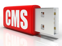 CMS Pen drive Means Content Management Royalty Free Stock Photo