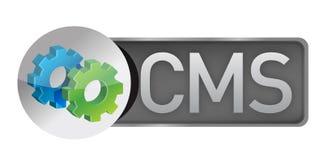 CMS przekładnie. zadowolony systemu zarządzania pojęcie Zdjęcia Royalty Free