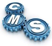 CMS przekładnie. zadowolony systemu zarządzania pojęcie Obraz Royalty Free