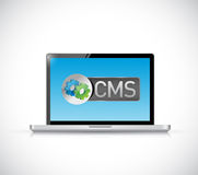 Cms sign laptop illustration design Stock Photography