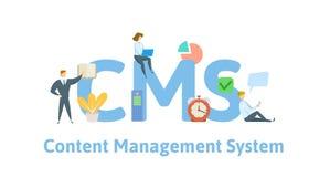 CMS, sistema de gestión contento Concepto con palabras claves, letras e iconos Ejemplo plano del vector Aislado en blanco libre illustration