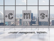 Cms symbol. Drawing cms symbol on desk in office Royalty Free Stock Photos