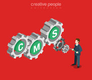CMS technology internet cog wheel flat isometric vector 3d Stock Photos