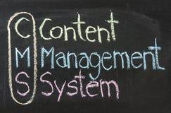 CMS, Zadowolony system zarządzania Zdjęcia Stock