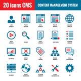 CMS - Zadowolony system zarządzania - 20 wektorowych ikon SEO - Wyszukiwarka optymalizacja wektoru ikony Zdjęcia Royalty Free