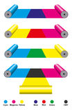 CMY Cyan Magenta Yellow print. CMY Cyan Magenta Yellow colors printing. Subtractive color mixing illustrated with print cylinders. Synthesis with primary and Royalty Free Stock Image