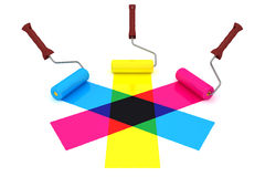 CMY paint rolls Stock Image