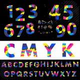 Cmyk字体字体 由被覆盖的深蓝洋红色做和黄色 免版税图库摄影