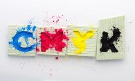 CMYK打印机深蓝洋红色黄色的颜色调色剂 库存照片