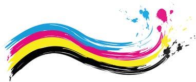 cmyk打印颜色波浪的例证与飞溅颜色 库存例证