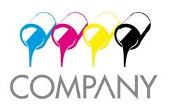 CMYK打印颜色装商标模板于罐中 免版税库存照片