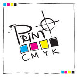 cmyk构思设计徽标符号 图库摄影