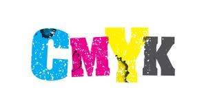 CMYK概念被盖印的词艺术例证 免版税库存照片