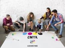 CMYK深蓝洋红色黄色基色晒印方法概念 免版税库存照片