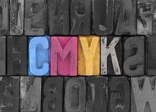 Cmyk由活版块做了 免版税库存照片