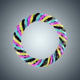 CMYK颜色的螺旋弹簧 免版税库存照片