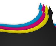 Cmyk. Four arrows in cmyk colors - 3d illustration Royalty Free Stock Photography