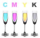 CMYK. Four glasses with a different liquid on color.CMYK Royalty Free Stock Photo