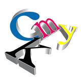 Cmyk. Letters in 3d using different perspectives royalty free illustration