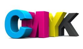 cmyk 3D bezeichnet 01 mit Buchstaben Stockfotos
