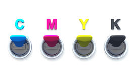 Cmyk 3d switches 01. 3d switches with letters for printing royalty free illustration