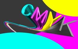 Cmyk 3d word. Cmyk,cyan,magenta,yello,key,word Royalty Free Illustration